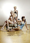 Shannon Brooke pinup photo of Frankie Sin, Sabina Kelley and Dayna Delux